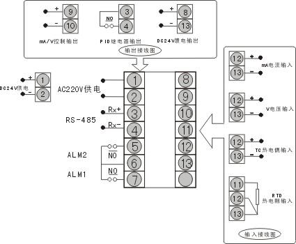 数显温控仪接线电路图