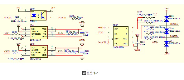 以太网通信接口采用片上以太网外设通过简化介质独立接口 (RMII)和外部快速物理层LAN8720A芯片实现,RJ45接口内部集成了1:1变比的信号变压器,实现信号的隔离保护,提高通讯的抗干扰性能,具体实现原理如图2.5.2所示。